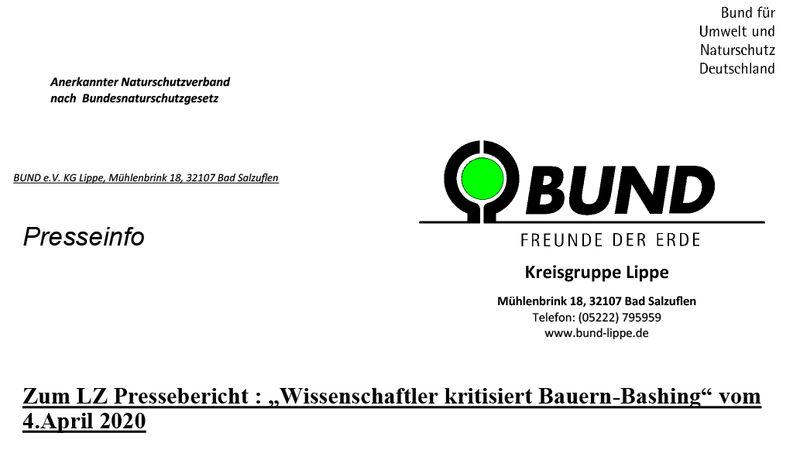 Die BUND Kreisgruppe Lippe übt Kritik an der Meinung des Veterinärs Dr. Matthias Upmann